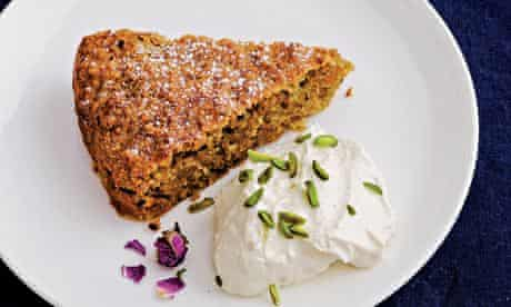 Spiced carrot, pistachio and almond cake with rosewater cream