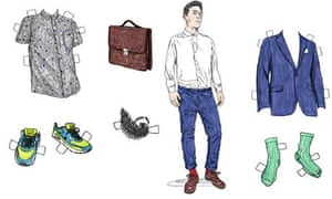 A cut-out paper doll of a man and clothes