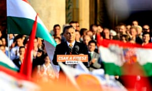 Hungarian Prime Minister Orban delivers a speech during an election rally