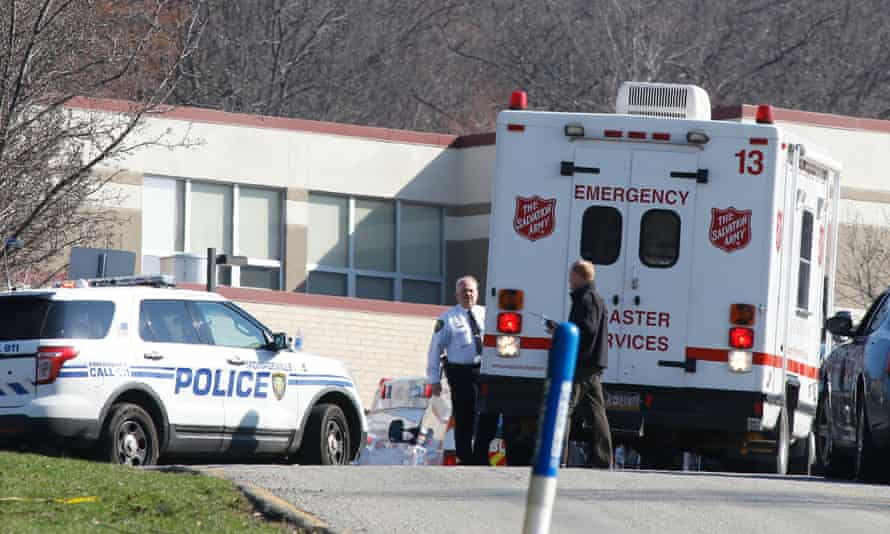 Emergency responders gather after a stabbing incident at Franklin Regional high school in Murrysville, Pennsylvania.
