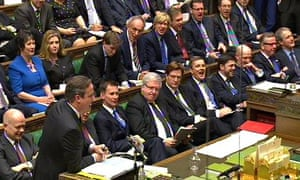 A view of the front bench as David Cameron speaks during Prime Minister's Questions