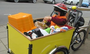 'Shopping bags and my son in our cargo bike.'