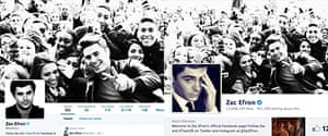 Zac Efron's twitter and facebook profiles - can you spot the difference?
