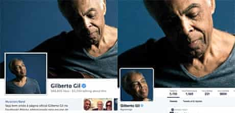 Gilberto Gil's profile on twitter and facebook: which is which?