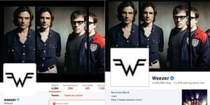Facebook and Twitter profiles of American rock band Weezer: can you tell the difference?