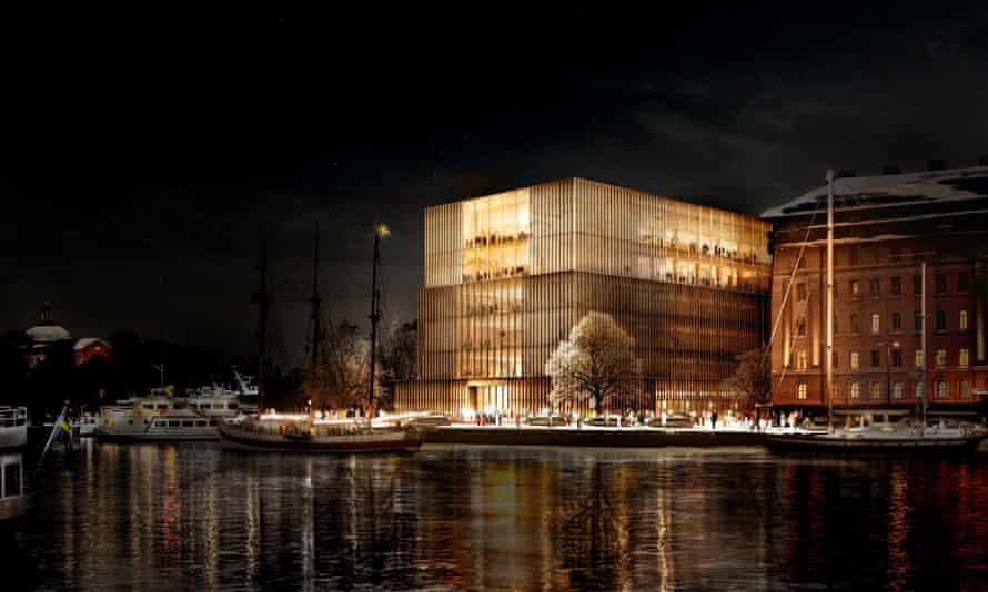 Nobel Centre simulation of exterior at night