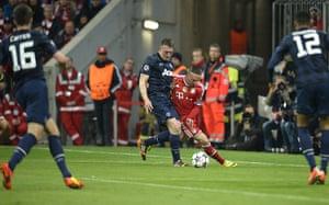 Bayern v United: Phil Jones and Franck Ribery'