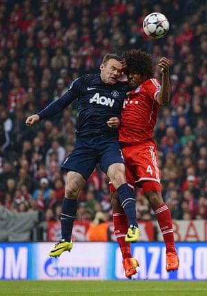 Bayern v United: Wayne Rooney and Dante clash heads