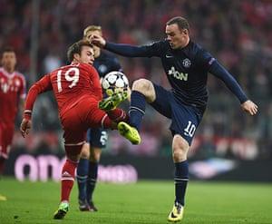 Bayern v United: Wayne Rooney and Mario Goetze