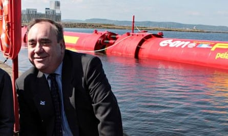 Alex Salmon with wave-power generator in Leith