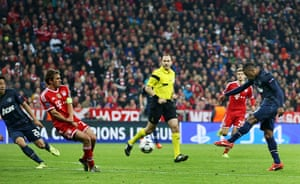 Bayern v United: Patrice Evra scores