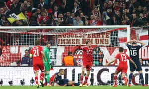 Thomas Muller celebrates after scoring the second goal for Bayern Munich.