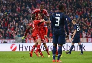 Bayern v United: Thomas Mueller of Bayern Muenchen celebrates scoring his team's