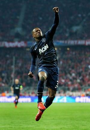united lose to bayern: Patrice Evra celebrates