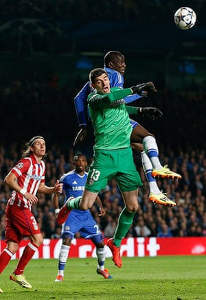 Tom's Chelsea pics: Thibault Courtois punches clear under pressure from Demba Ba