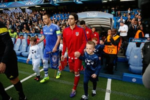 Tom's Chelsea pics: The two captains - Terry and Tiago - lead the teams out