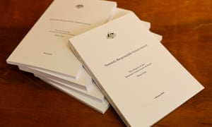 The report of the Commission of Audit, which weighs five kilos.
