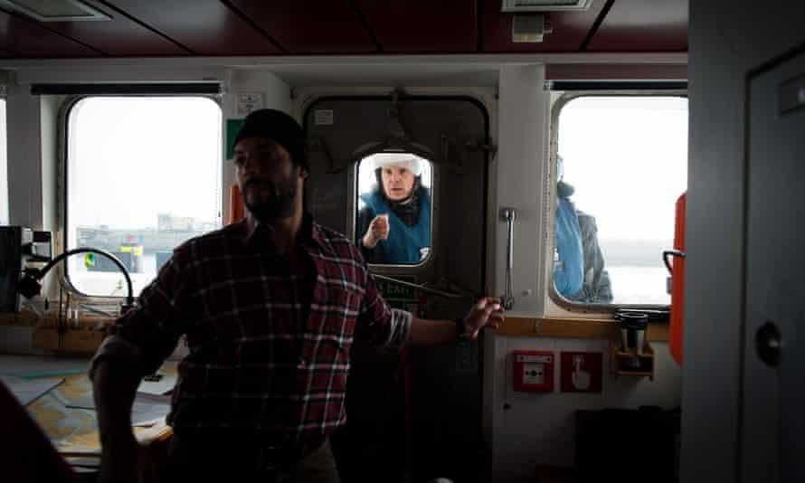 Police  on board of Greenpeace Rainbow Warrior