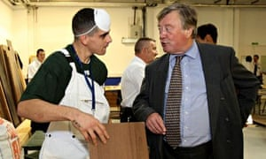 Kenneth Clarke, then justice secretary, talks to an inmate at Peterborough prison in 2010