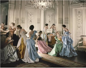 Models wearing ball gowns created by Charles James between 1946 and 1948.