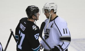San Jose Sharks' Tommy Wingels congratulates LA Kings' Anze Kopitarafter game seven of the first round of the 2014 Stanley Cup Playoffs.