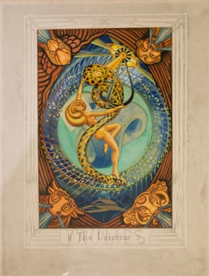 Original painting of Aleister Crowley's tarot card The Universe, on loan from The Warburg Institute.
