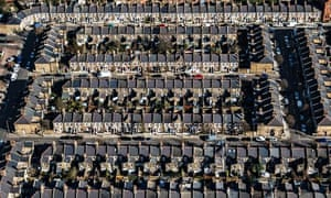 An aerial view of terraced houses in Kensington, west London