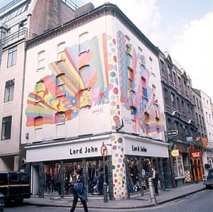 David Vaughan: The exterior of a shop painted by Vaughan in Carnaby Street, London in 1968