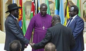 Salva Kiir, left, and opposition leader Riek Machar, right