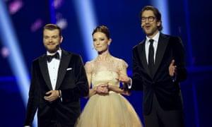 Pilou Asbaek, Lise Ronne and Nikolaj Koppel host the grand final of the Eurovision Song Contest 2014 on May 10, 2014 in Copenhagen, Denmark.