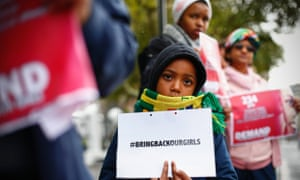 South Africans protest in support of more than Nigerian 200 girls abducted from their school.
