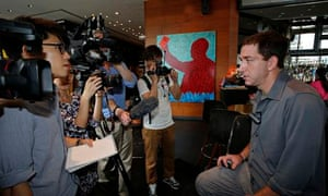 Glenn Greenwald speaks to media at a hotel in Hong Kong  on June 10, 2013