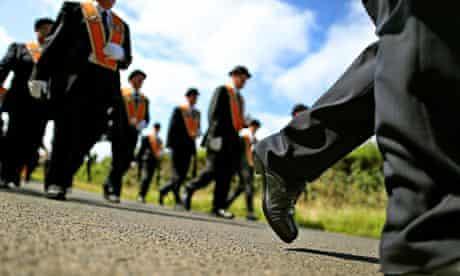 Members of Orange Order marching