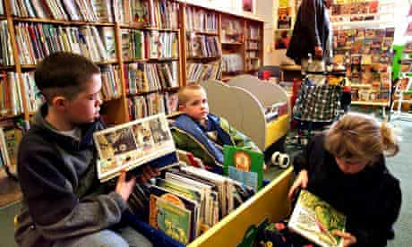 Children read in a library