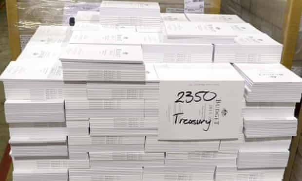 The 2014 budget papers are printed and packed in Canberra, Sunday, May 11, 2014. Federal treasurer Joe Hockey will hand down his first budget on Tuesday.