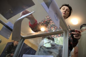 A woman voting at a polling station in Donetsk  Referendum in Donetsk, Ukraine.