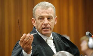 State prosecutor Gerrie Nel questions a defence witness on Monday.