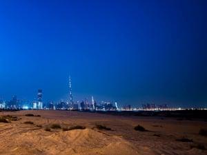 Dubai skyline from desert