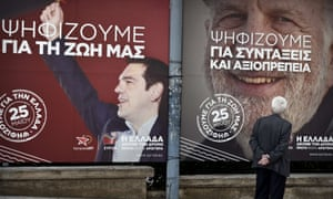 A man looks at pre-election posters reading 'On May 25, we vote for Greece' and 'On May 25, we vote for our life' of the European Left candidate for the EU presidency, Alexis Tsipras, in central Athens. Photo: Louisa Gouliamaki/ AFP/Getty Images