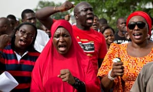 People demand the release of schoolgirls kidnapped from the Nigerian village of Chibok by Boko Haram