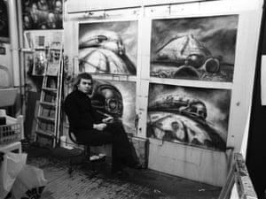 H R Giger designing concepts for Alejandro Jodorowsky's unmade adaptation of Frank Herbert's novel,  Dune.