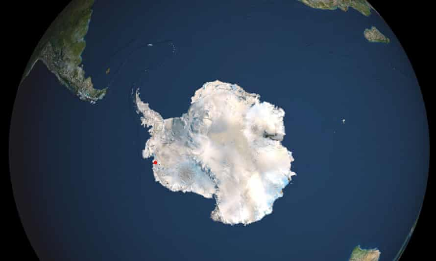Satellite view of Antarctica with the Thwaites glacier marked in red