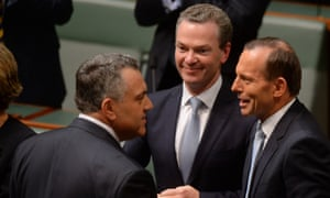 Joe Hockey is congratulated after delivering the budget.