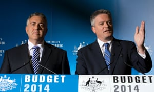 The Treasurer Joe Hockey and the Minister for Finance Mathias Cormann at a press conference in the budget lock up of Parliament House in Canberra this afternoon, Tuesday 13th May 2014.