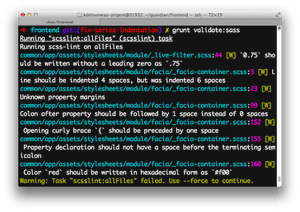 Warnings reported by scss-lint to developers in a terminal
