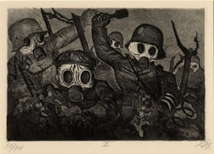 Der Krieg no.12 Stormtroops advancing under a gas attack  (Sturmtruppe geht unter Gas vor) The scene is other-worldly as gas clouds the atmosphere. Their features are obscured by masks and their fingers are curled like claws. These are men who will kill by any means. But are they men?