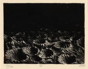 Otto Dix, Der Krieg. Der Krieg no.4 Crater field near Dontrien lit up by flares  (Trichterfeld bei Dontrien, von Leuchtkugeln erhellt) Already by plate number four we begin to understand this is no ordinary series of etchings. Throughout the series, Dix demonstrates a commanding use of print techniques with etching, dry point and aquatint. Here a night time flare illuminates a lunar landscape.
