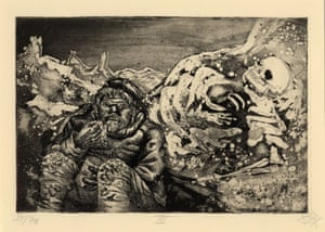 Der Krieg no.13 Mealtime in the Trenches  (Mahlzeit in der Sappe) A trench soldier quickly gulps a meal in the company of a human skeleton trapped in the frozen landscape beside him.