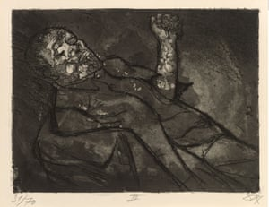 Der Krieg no.23 Dead man in the mud  (Toter im Schlamm) Mud defined a soldier's experience on the Western Front. He marched in it, slept in it, fought in it and often died in it. For the artist it offered rich textures which Dix captured nicely with aquatint.