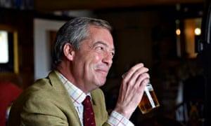 Ukip leader Nigel Farage drinking a pint of beer